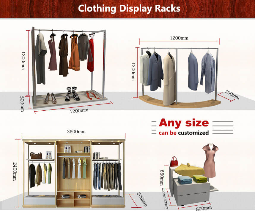 clothing display racks size