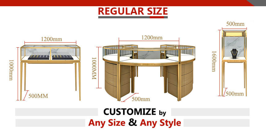jewelry store display cases size