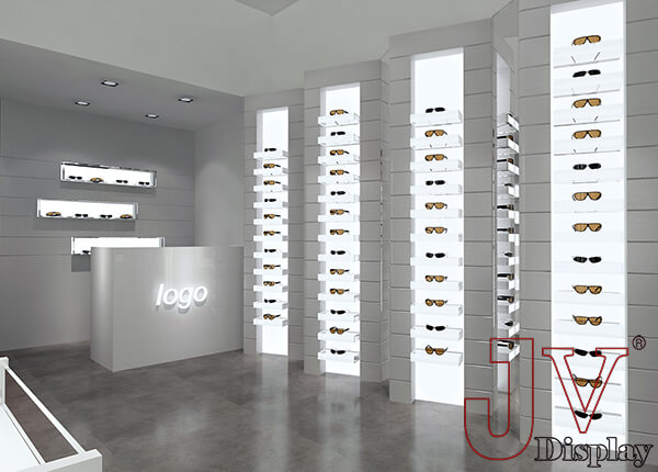 white optical store design