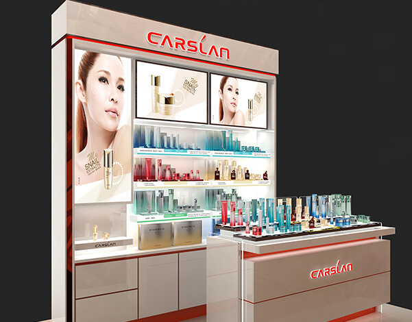 skin care counter display