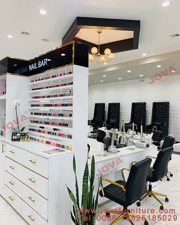 nail displays, manicure tables and chairs