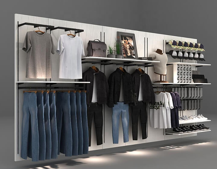 wall mounted boutique display racks