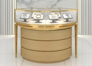 curved jewelry display case