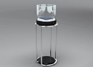 pedestal display case with light